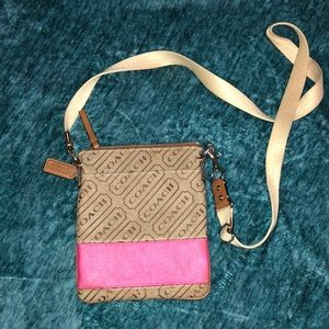 Coach Signature Lurex Pink Stripe Swingpack